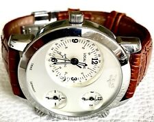 TRIAS MENS COSMOPOLITAN GERMAN MADE TRIPLE TIME ZONE XXL SILVER DIAL DRESS WATCH