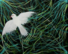 Dove Peace Bird Symbolism Painting by West Davis Acrylic 20x16 New From Gallery