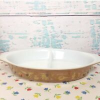 Vintage Pyrex Early American Brown Gold Divided Dish Oval Baker Corn Cat