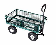 Heavy Duty Metal Truck Trolley 4 Wheels Wheelbarrow Trailer Garden Cart