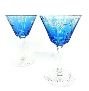 TWO (2) WILLIAM YEOWARD CRYSTAL BLUE ALEXIS MARTINI GLASSES - PALM TREE
