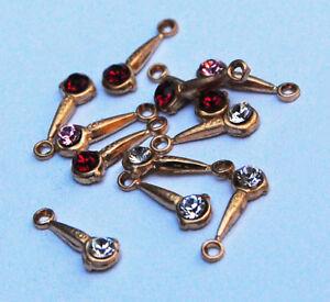 VINTAGE (6) TINY BRASS  & SWAROVSKI RHINESTONE PENDANTS• 10mm • CLEAR RED PINK