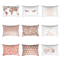 Rose Gold Pink Cushion Cover Square Pillowcase Home Decor (30cm X 50cm) Best