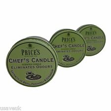 PRICES CHEFS  SCENTED CANDLE CANDLES TRIPLE PACK PRICE'S ELIMINATES ODOURS