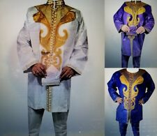 Men's African Pant Suit Brocade Embroidered 3 Piece Suits Ethnic Clothing Set