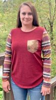 Women's 7th Ray BOUTIQUE Multi Striped BURGUNDY TOP Shirt W/ Sequin Pocket SZ S