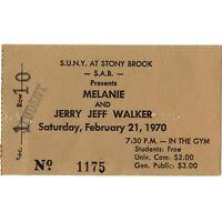 MELANIE & JERRY JEFF WALKER Concert Ticket Stub STONY BROOK NY 2/21/70 SUNY Rare