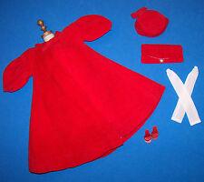 Vintage Barbie RED FLARE #939 Velvet Coat Hat Long Gloves Purse Shoes NICE