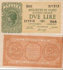 DUE LIRE ITALIA BIGLIETTO DI STATO A CORSO LEGALE D. MIN. 23 NOVEMBRE 1944