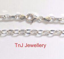 NEW Genuine Solid 925 Sterling Silver Diamond Cut Oval Belcher Ladies Bracelet