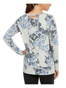 IDEOLOGY long sleeve lattice crisscross back floral print women's top - XS M LG