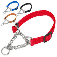 Martingale Nylon Half Chain Choke Dog Training Collars for Medium Large Breeds