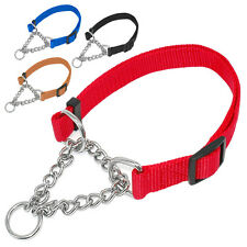 Martingale Nylon Half Chain Choke Dog Training Collars for Medium Large Breeds