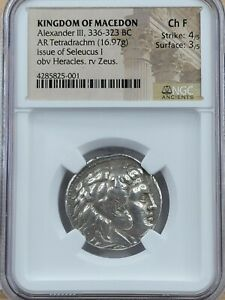 NGC Ch.F Strike 4/5, Surface 3/5. Alexander AR Tetradrachm, Issue of Seleucus I