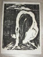 SIGNED MARTIN WOODBLOCK ART WOMAN LONG HAIR SLUMPED OVER KNEELING
