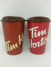 Tim Hortons Coffee Cup 12oz Travel Canada Red Pair Washable Gift 2017 & 2019 Ed