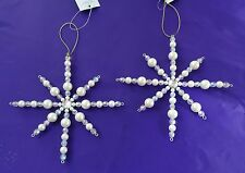 Gisela Graham  2 Pearl/Opal Beaded Stars  Christmas Tree Hanging Decorations