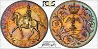 1977 GREAT BRITAIN 25P JUBILEE PCGS MS66 RAINBOW COLOR TONED COIN! *TRUEVIEW*