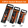 "13Pcs 1/4"" 3/8"" 1/2"" Hex Socket+Ratchet Wrench+Universal Joint+Extension Set"