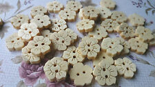 Natural Flower Wooden Buttons, Floral Shape, Sewing, Haberdashery, Cardmaking