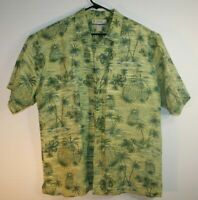 Kahala Hawaiian Shirt - Mens Large - Green w/ Palm Trees and Flowers