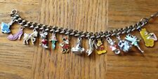 Ant/Vintage Charm Bracelet, marked Disney,13 Charms, Mickey Magic Hat At Center