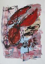 gr. Collage Zeichnung - Lobster MixedMedia  -Sonja Zeltner-Müller orig.
