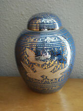 "Beautiful Plated Nickel & Blue w/Doves Solid Brass Dome Urn~Small 5.25""~~45 lbs"
