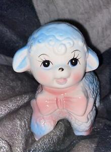 "Vtg Pastal Ceramic Baby Lamb/Sheep Planter/Vase/Pot Nursery Easter Bow 7"""