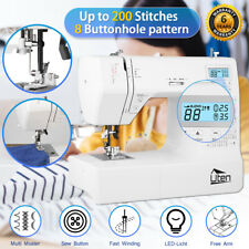 Electric Sewing Machine 208 Stitches Overlock Automatic Threader Free Arm Pedal