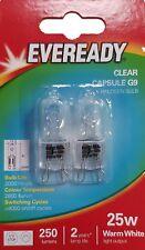 Pack Doble 25w everady G9 forma de cápsula halógenas 2000 horas Vida, 2800k