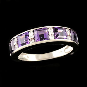 VIBRANT Solid 9K 375 White Gold Purple Amethyst & Cubic Zirconia Wide Band Ring
