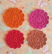 4 PC Retro Handmade Crochet Coasters -  Set 3  - Made in Oz