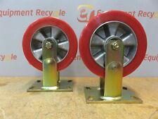 "Wicke Wheels Castors 7"" Polyurethane Red Wheel Set of 2"