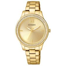 Citizen Women's EL3088-59P Quartz Crystal Accents Gold-Tone 32mm Watch