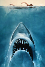 Jaws (1975) Movie Poster Art Fabric HD Printed Wall Decor Multi Sizes