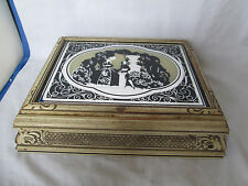 Vintage Silhouette Reverse Painting Courting Couple Mirrored Jewelry Trinket Box