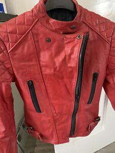 Ladies Vintage Red Leather Biker Jacket