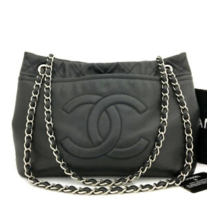 CHANEL Quilted CC Logo Caviar Skin Silver Chain Shoulder Tote Bag Black /90271