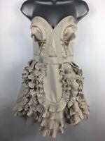 WOMENS KAREN MILLEN LIGHT BROWN STRAPLESS BONED FRILLY APRON STYLE DRESS UK 10
