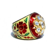EXQUISITE VINTAGE 23KT GOLD 1.2 CARATS MUGHAL DIAMOND COLORFUL ENAMEL RING