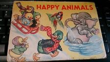Happy Animals Vintage Childrens Pop Up book circa 1930s