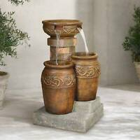 """Tuscan Outdoor Floor Water Fountain with Light LED 31.5"""" Cascading Garden Patio"""