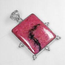 11.85 Gm 925 Sterling Silver Natural Pendant Rhodonite Hand Made Lovely Jewelry