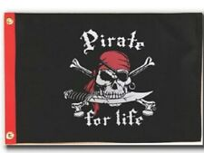 """12"""" x 18"""" Pirate for Life Two Sided Flag - Indoor Outdoor Grade Polyester"""