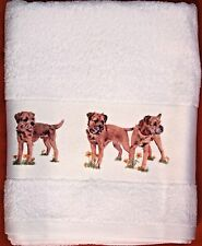 BORDER TERRIER DOG LARGE HAND/GUEST TOWEL WATERCOLOUR PRINT SANDRA COEN ARTIST