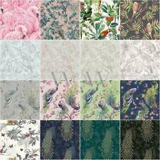 Oiseaux Papier Peint - Exotique Tropical Flamant Rose Paon Perroquet Nature