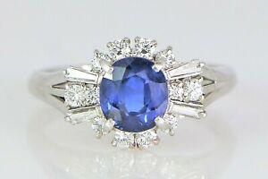 $3450 Platinum 1.92ct Cushion Blue Sapphire Round Baguette Diamond Cocktail Ring