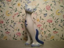 Siamese Cat Figurine by Andrea by Sadek -White W/Blue Painted Flowers