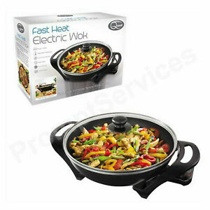 Quest Electric Non-Stick Wok with Lid - Rapid heating 1500w Portable Wok UK